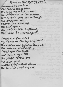 Tears In The Typing Pool Lyric  Sheet